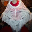 Rose Poncho with fringe