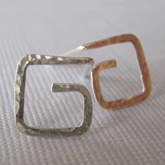 Square Spiral Earrings Sterling Silver