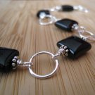 Black Onyx Bracelet Sterling Silver - Licorice Bits