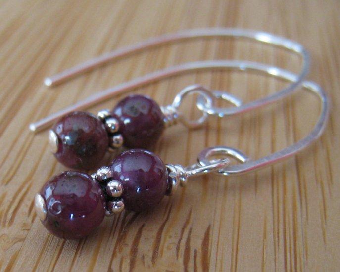 Ruby Earrings Sterling Silver - Ruby Duo