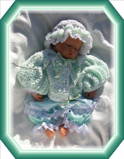 handmade aqua dress and hand crocheted set