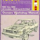 TOYOTA COROLLA TERCEL owners workshop manual Haynes