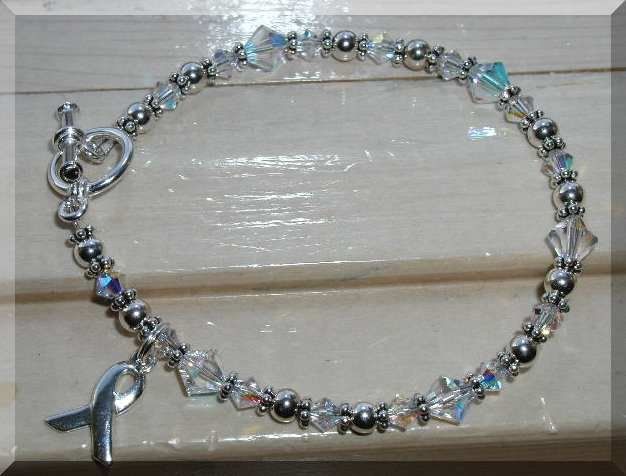 NEW Lung Cancer Awareness Bracelet w/ Swarovski Crystal Sterling Silver Symptom