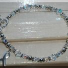 NEW Lung Cancer Awareness Bracelet w/ Swarovski Crystal Sterling Silver Symptom