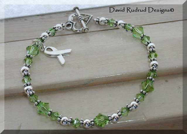 LYMPHOMA Cancer Awareness Bracelet Swarovski Crystal & Sterling Silver Symptom