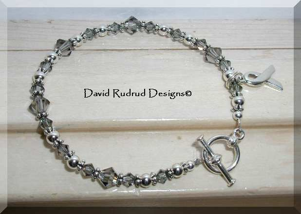 NEW BRAIN CANCER Awareness Bracelet with Swarovski Crystal and Sterling Silver Symptom