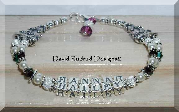 Custom Two Name Two Strand Mothers Mommy Baby Name Bracelet Sterling Silver Swarovski Crystal