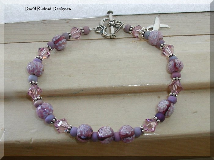 Pancreatic Cancer Lupus Alzheimers Purple Awareness Bracelet with Millforie Lampwork Swarovski