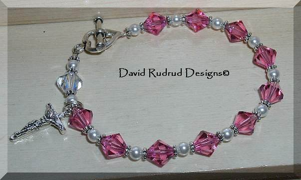 Beaded Gift Rosary Bracelet Sterling Swarovski Crystal Pearl