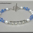 MOTHERS GIFT - Custom One Name Mothers Name Bracelet Sterling Swarovski Crystal