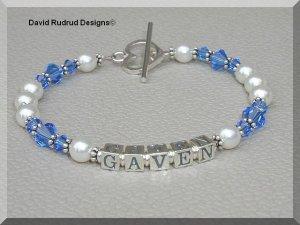 MOTHERS GIFT - Custom One Name Mothers Name Bracelet Sterling Swarovski Crystal