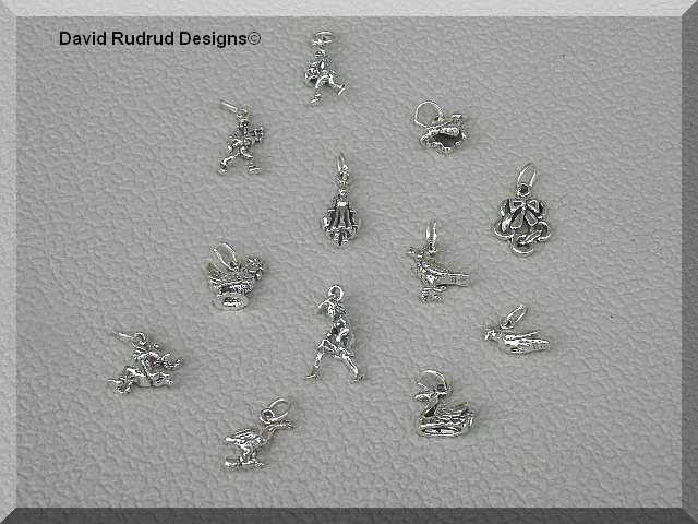 12 Days of Christmas Charms 100% Solid Sterling Silver