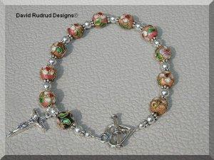 Boutique CLOISONNE CATHOLIC ROSARY BRACELET Sterling Crucifix Heart Clasp