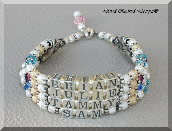 4 Strand Name Custom Mothers Gift Baby Name Bracelet Crystal Bali Gold Silver Jewelry