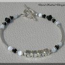 Contemporary Sterling Tube One Name Mothers Mommy Baby Name Bracelet with crystal