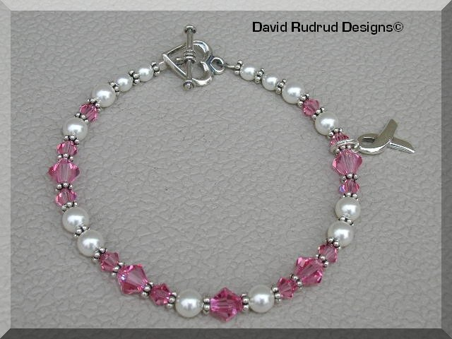 Boutique Breast Cancer Awareness Bracelet with Sterling Silver Austrian Crystal