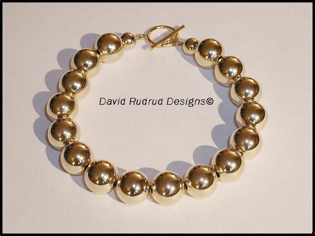 10mm GOLD Bead Beaded Bracelet - Elegant 10mm gold filled beads