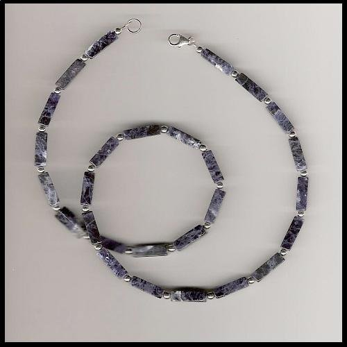 """Boutique 16"""" Sodalite Gemstone Sterling Silver Necklace"""