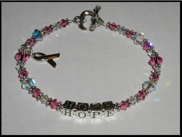 MESSAGE or NAME Breast Cancer Awareness Bracelet Sterling Austrian Crystal
