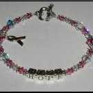 MESSAGE or NAME Breast Cancer Awareness Bracelet Sterling Austrian Crystal