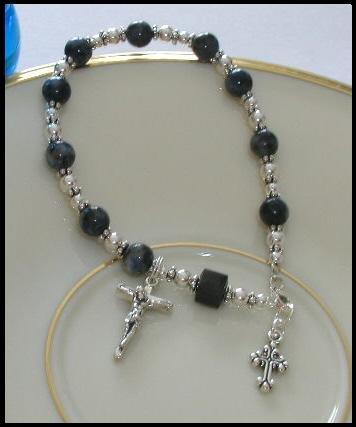 Denim Lapis Sterling Silver Crystal Rosary Bracelet - rosaries