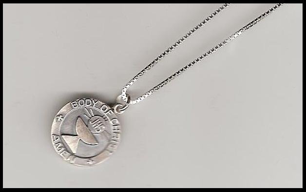 FIRST 1ST COMMUNION Gift NECKLACE STERLING SILVER BOX CHAIN Jewelry