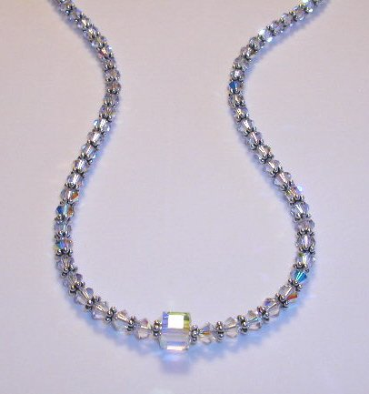 Boutique 16 Inch Swarovski Clear Crystal Sterling Silver Necklace