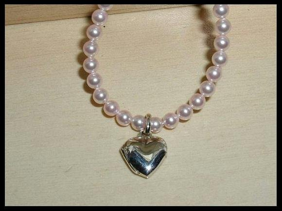 Solid Sterling Silver Pink Swarovski Pearl Heart Locket Necklace