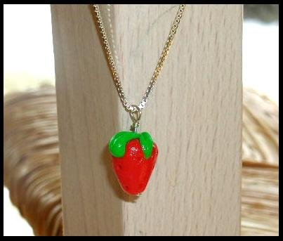 SALE! Sterling Silver STRAWBERRY Charm Necklace 16 Inches
