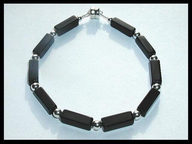 """Boutique Black Onyx Sterling Silver """"Night On The Town"""" Bracelet"""
