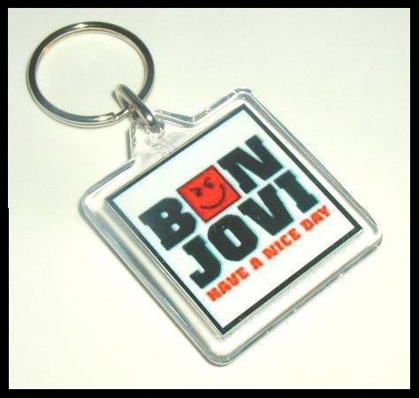 White Have A Nice Day Smirky Guy BON JOVI Keyring Keychain