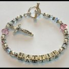 Girls Gift Jewelry Name Bracelet Sterling Crystal Pearl
