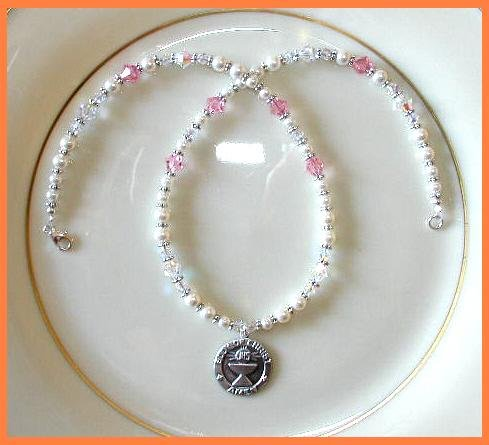 1st First Communion Gift Necklace Sterling Swarovski Crystal and Pearl Jewelry