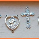 3 Sets NEW Sterling Silver ROSARY Center & Crucifix lot