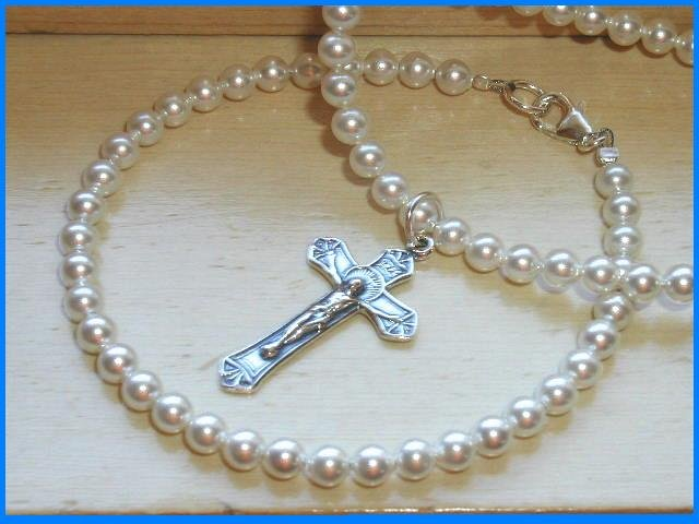 1st  First Communion Swarovski Crystal Pearl Necklace & Bracelet Jewelry Set