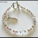 Rose Swarovski Crystal and Pearl Bracelet Gift Jewelry