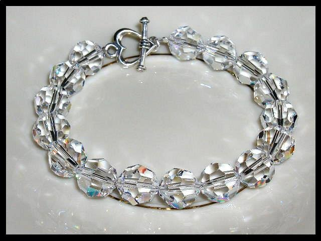 Special! Elegant 10mm Round Swarovski Clear AB Crystal Bracelet Beaded Crystal Gift Jewelry