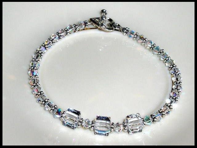 SWAROVSKI Clear AB Crystal Cube Bracelet Bali Silver Accents