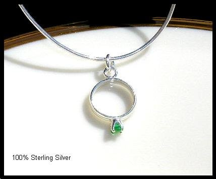 MOTHERS GIFT -  1 Baby Ring Birthstone Necklace Sterling Silver Jewelry