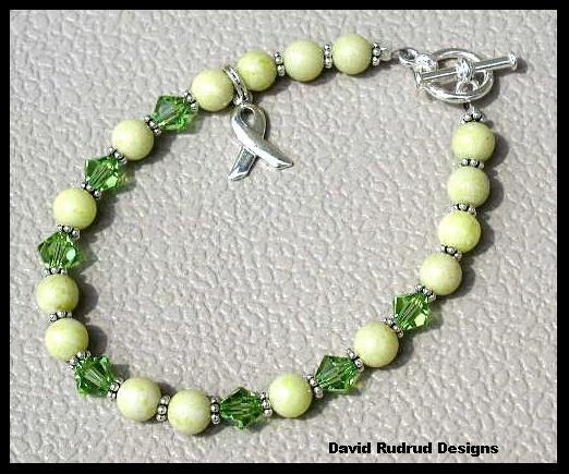 Lymphoma Cancer Awareness Bracelet Gemstone and Swarovski Crystal