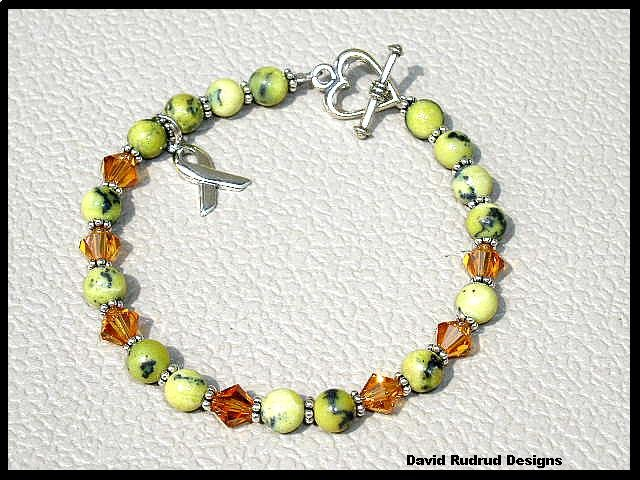 Childhood Cancer Awareness Bracelet Gemstone and Swarovski Crystal