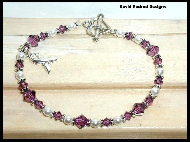 FIBROMYALGIA Awareness Bracelet Swarovski Crystal & Pearl Symptom