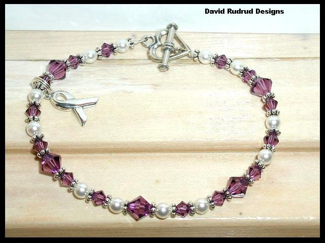 PANCREATIC CANCER Awareness Bracelet Swarovski Crystal & Pearl