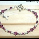 PANCREATIC CANCER Awareness Bracelet Swarovski Crystal & Pearl