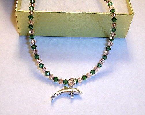 DOLPHIN Anklet Ankle Bracelet Swarovski Crystal Sterling Silver