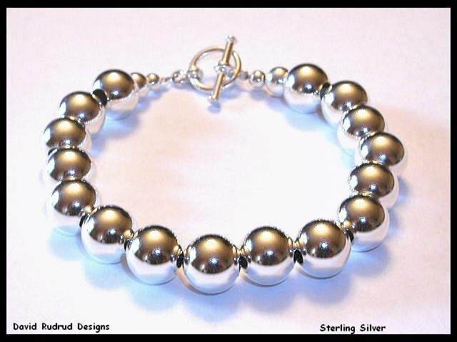 Spectacular 10mm Sterling Silver Bead Designer Bracelet JEWELRY