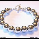 Spectacular 10mm Sterling Silver Bead Designer Bracelet JEWELRY