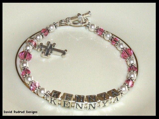 Girls Birthstone Baptisim Dedication Name Bracelet Gift Crystal Cross and Sterling Silver Jewelry