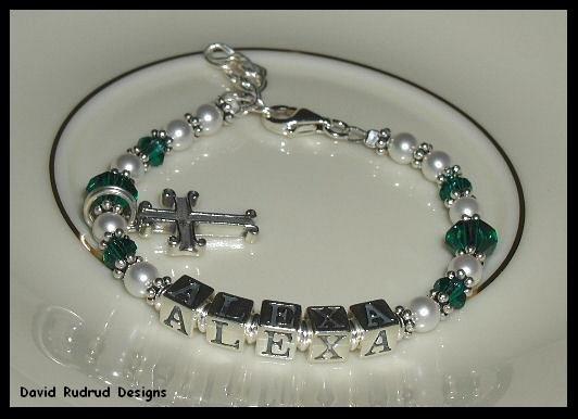 Baby Birthstone Baptisim Dedication Name Bracelet Crystal Steling Silver