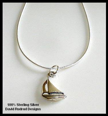 Solid Sterling Silver SAILBOAT Charm Necklace 18 Inches